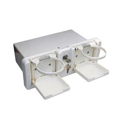 Guantera completa con cerradura y portavasos blanca
