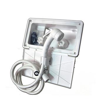 Duchador frio calor con caja para embutir y tapa 260x158x101mm + soporte