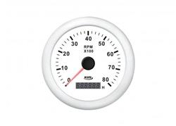 Cuentarevoluciones + cuentahoras 8000rpm con cuenta horas aro blanco
