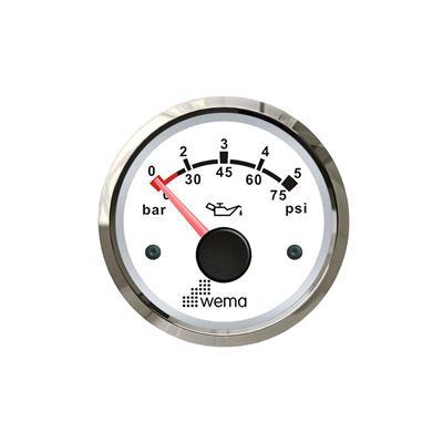 Indicador de presión de aceite 5 bar aro inoxidable opción blanco negro