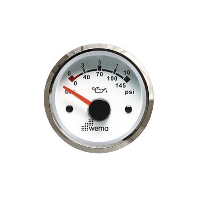 Indicador de presión de aceite 10 bar aro inoxidable opción blanco o negro