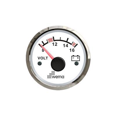 Voltímetro 12v aro cromado opción blanco o negro wema