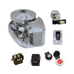 Malacate para ancla eje horizontal 600 watt de potencia de acero inoxidable pulido