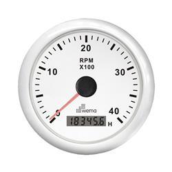 Cuentarevoluciones 4000 rpm con cuentas horas aro cromado / blanco / negro