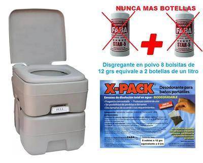 Inodoro Químico o Kit con  Bomba  20 L + 2 Liq