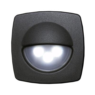 Luz de cortesia 3 led luz calida frente negro 57x57x10mm
