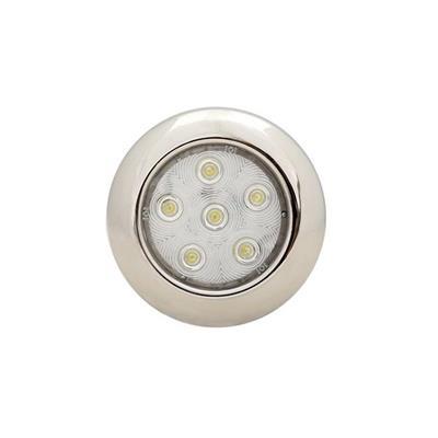 Plafón led D101mm 6 led luz calidad frente inoxidable pulido
