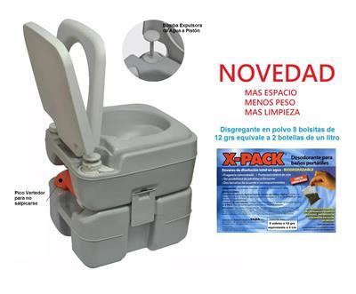 Inodoro Químico o Kit con  Bomba  20 L + 2 Liq + Arnés + con arpa     Sin xducon ha