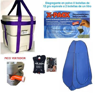 Inodoro Químico o Kit con  Bomba  20 L + 2 Liq + Arnes+con arpa + xducon ha