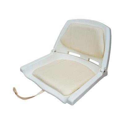 Butaca plástica con respaldo rebatible con acolchado color blanca