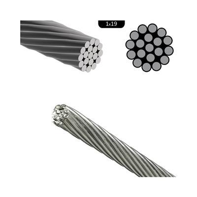 Cable de acero inoxidable rígido ¢ 4mm (1x19) aisi 316