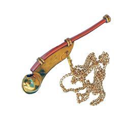 Silbato contramaestre de bronce pulido con cadena