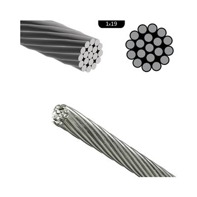 Cable de acero inoxidable rígido D10mm (1x19) aisi 316