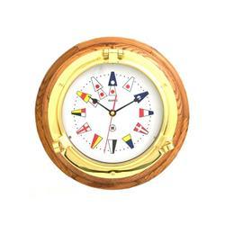 Reloj con base de madera con banderas numerales ¢ 185mm