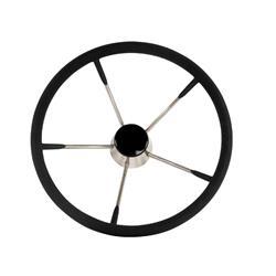 Volante de inoxidable acolchado ø 343mm negra ángulo 30º - 5 rayos