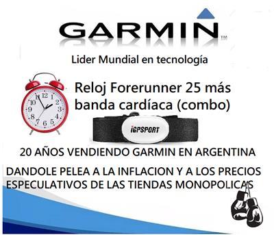 Reloj Forerunner  25 Negro Gps Con Brazlete con Cardio Igs