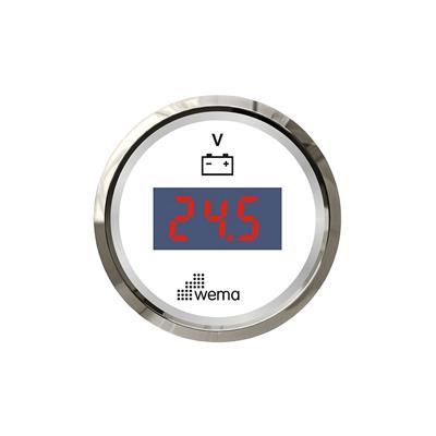 Voltímetro digital de 8-32v aro cromado opción blanco o negro