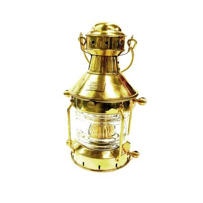 Farol de fondeo a kerosene rojo de bronce pulido